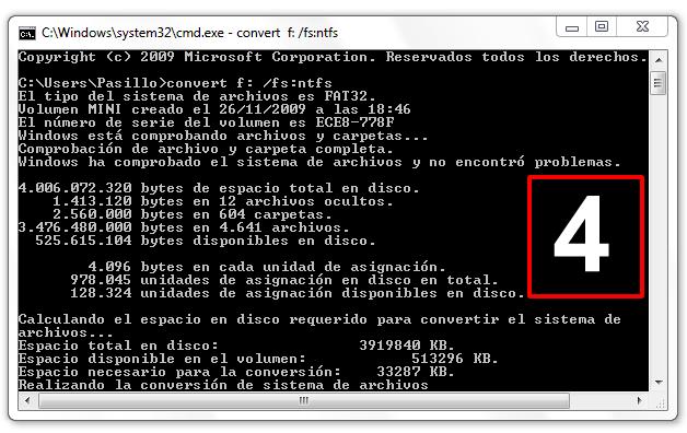 Conversión de FAT a NTFS