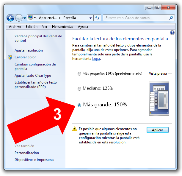 Agrandar pantalla en Windows 7