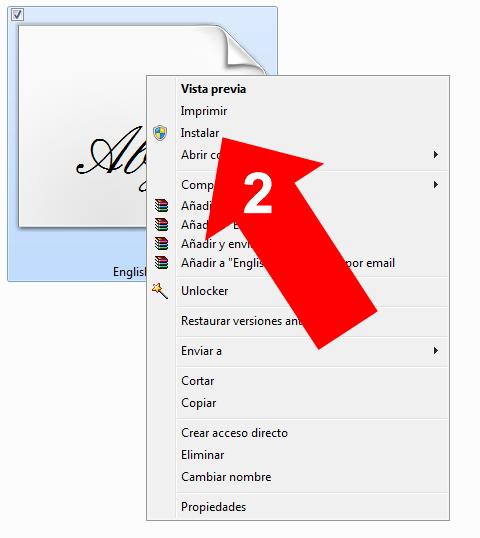 Instalar una fuente en Windows 7