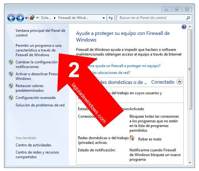 Abrir un programa con el Firewall de Windows 7