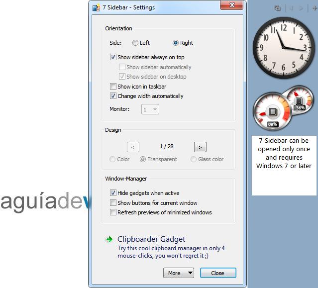Sidebar en Windows 7