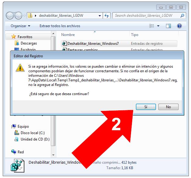 Deshabilitar bibliotecas en Windows 7