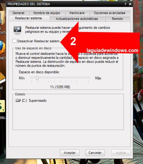 Crear puntos de restauración en Windows XP