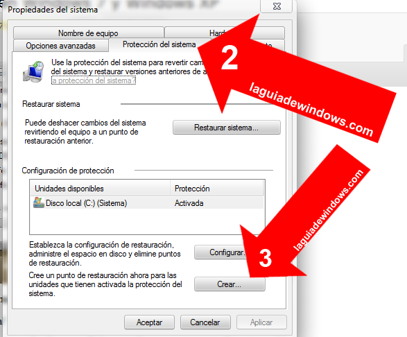 Crear punto de restauración en Windows 7