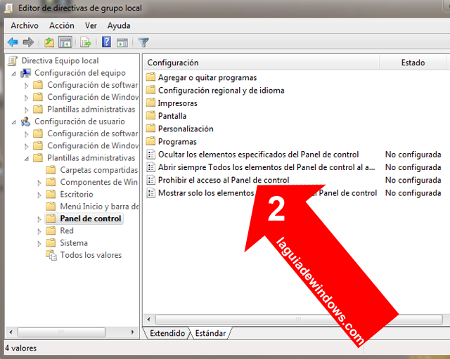 Desactivar el Panel de Control en Windows 7