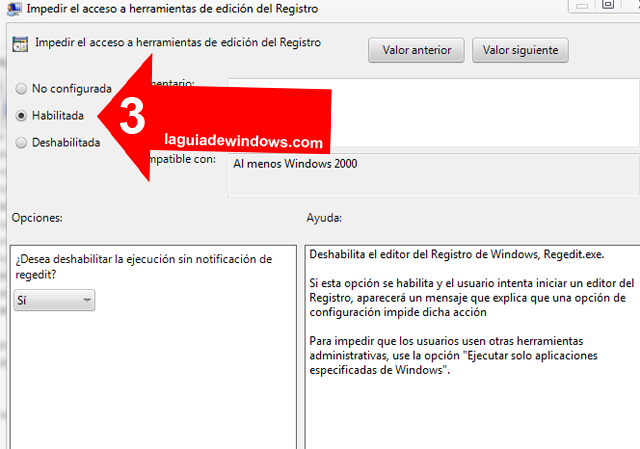 Prohibir el acceso al registro en Windows 7