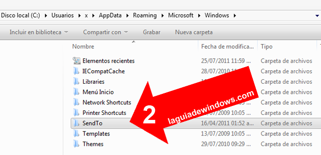 "Personalizar el menú ""Enviar a.."" [Windows 7]"