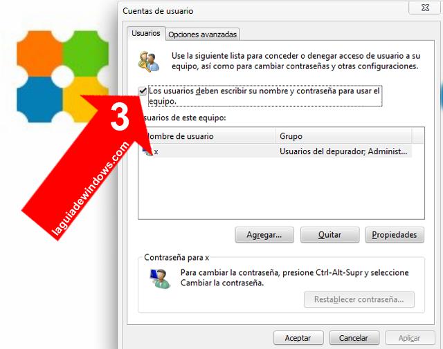 Sacar contraseña para iniciar sesión Windows 7