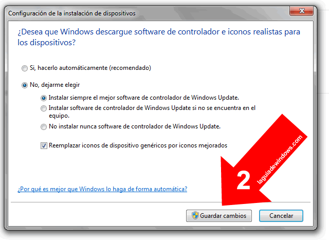 Configurar para que Windows actualice los controladores automáticamente [Windows 7]